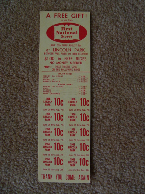 Unused tickets from First National Stores 1966