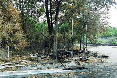 Burned remains of the Cotton Candy Stand 2002